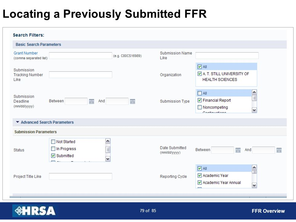 80 of 85 Submitted FFR List FFR Overview