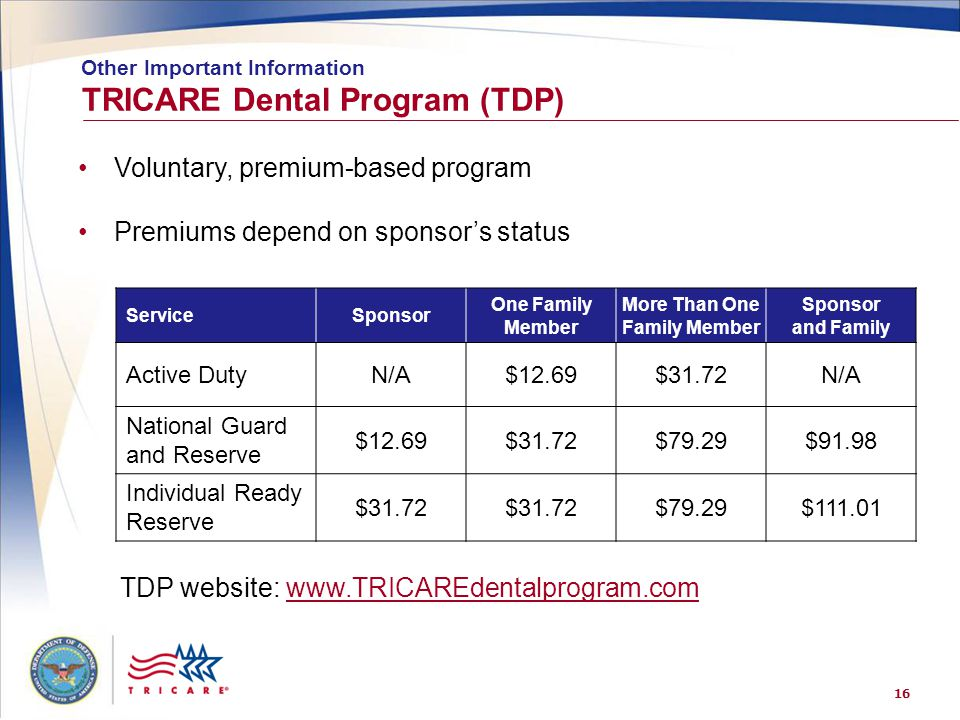 16 TRICARE Dental Program (TDP) Other Important Information Voluntary, premium-based program Premiums depend on sponsor's status ServiceSponsor One Family Member More Than One Family Member Sponsor and Family Active DutyN/A$12.69$31.72N/A National Guard and Reserve $12.69$31.72$79.29$91.98 Individual Ready Reserve $31.72 $79.29$111.01 TDP website: www.TRICAREdentalprogram.comwww.TRICAREdentalprogram.com