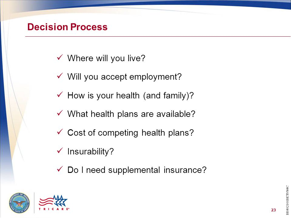 23 Decision Process Where will you live? Will you accept employment? How is your health (and family)? What health plans are available? Cost of competi