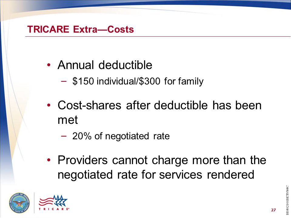 27 TRICARE Extra—Costs Annual deductible – $150 individual/$300 for family Cost-shares after deductible has been met – 20% of negotiated rate Providers cannot charge more than the negotiated rate for services rendered BR402101BET0504C