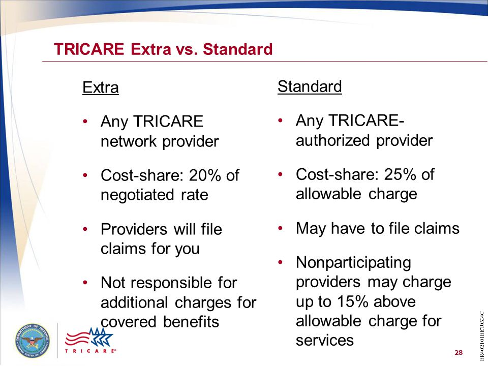 28 Standard Any TRICARE- authorized provider Cost-share: 25% of allowable charge May have to file claims Nonparticipating providers may charge up to 15% above allowable charge for services Extra Any TRICARE network provider Cost-share: 20% of negotiated rate Providers will file claims for you Not responsible for additional charges for covered benefits TRICARE Extra vs.