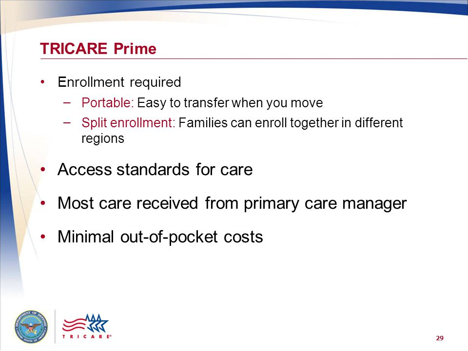 29 TRICARE Prime Enrollment required – Portable: Easy to transfer when you move – Split enrollment: Families can enroll together in different regions