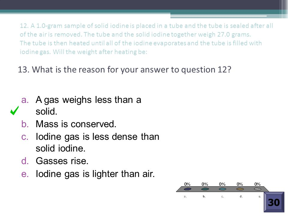 13. What is the reason for your answer to question 12? a. A gas weighs less than a solid. b. Mass is conserved. c. Iodine gas is less dense than solid