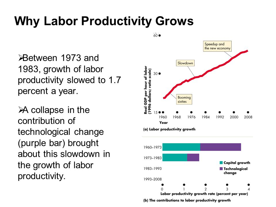 Why Labor Productivity Grows  Between 1973 and 1983, growth of labor productivity slowed to 1.7 percent a year.  A collapse in the contribution of t