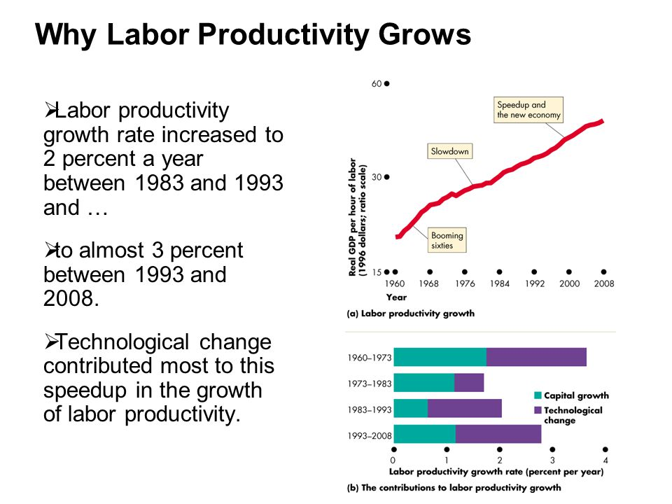 Why Labor Productivity Grows  Labor productivity growth rate increased to 2 percent a year between 1983 and 1993 and …  to almost 3 percent between