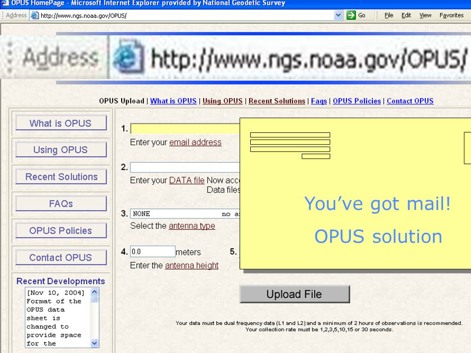 You've got mail! OPUS solution
