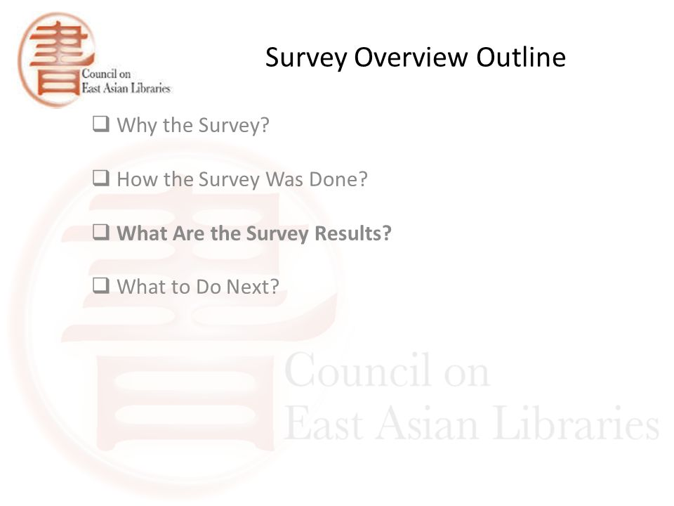 Survey Overview Outline  Why the Survey.  How the Survey Was Done.