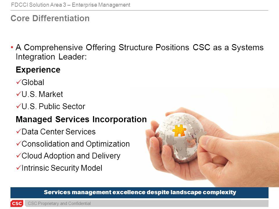 CSC Proprietary and Confidential Services management excellence despite landscape complexity Core Differentiation FDCCI Solution Area 3 – Enterprise M