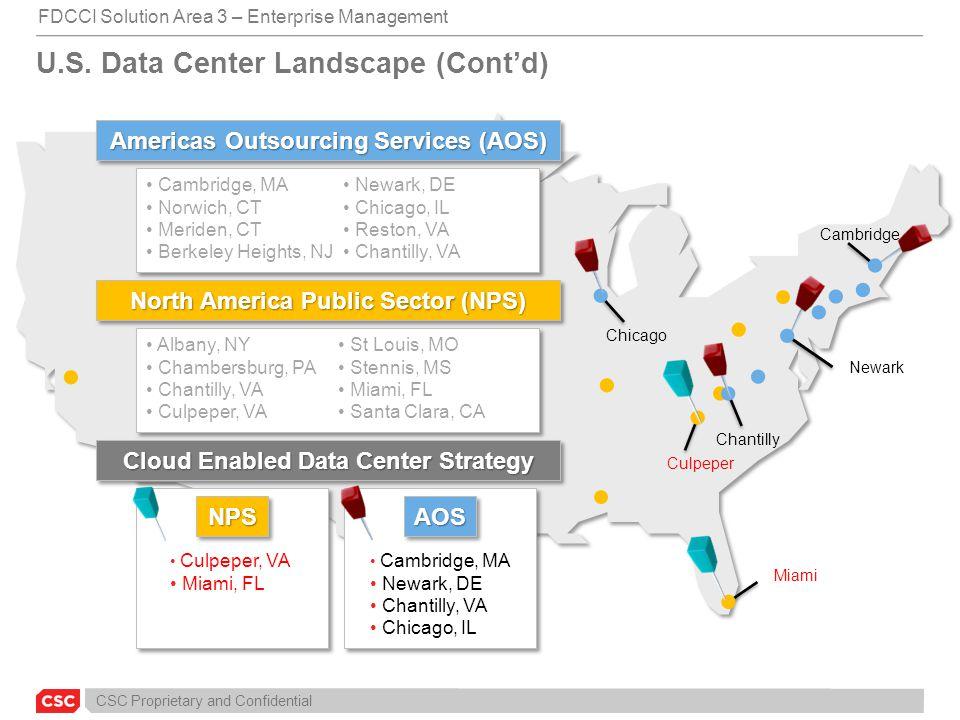 CSC Proprietary and Confidential U.S. Data Center Landscape (Cont'd) Miami Culpeper Chicago Chantilly Newark Cambridge Americas Outsourcing Services (