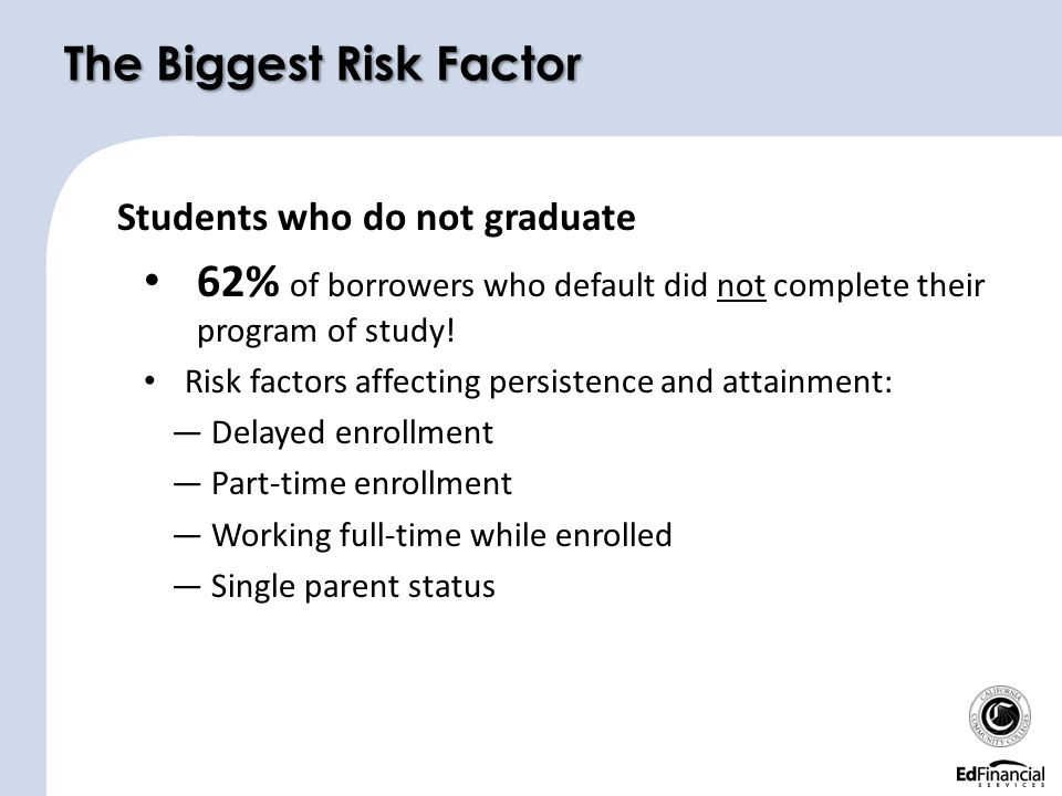 The Biggest Risk Factor Students who do not graduate 62% of borrowers who default did not complete their program of study.