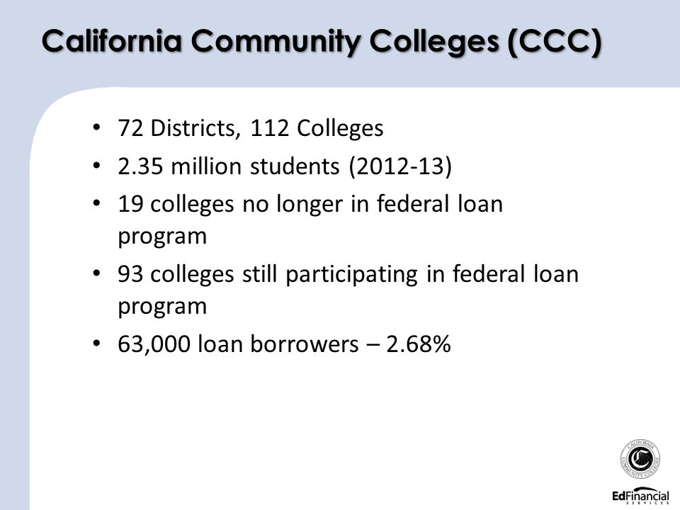 72 Districts, 112 Colleges 2.35 million students (2012-13) 19 colleges no longer in federal loan program 93 colleges still participating in federal loan program 63,000 loan borrowers – 2.68% California Community Colleges (CCC)
