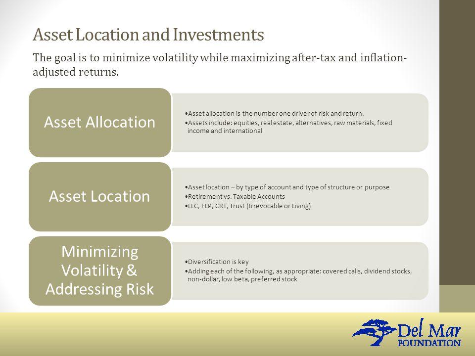 Asset Location and Investments Asset allocation is the number one driver of risk and return.