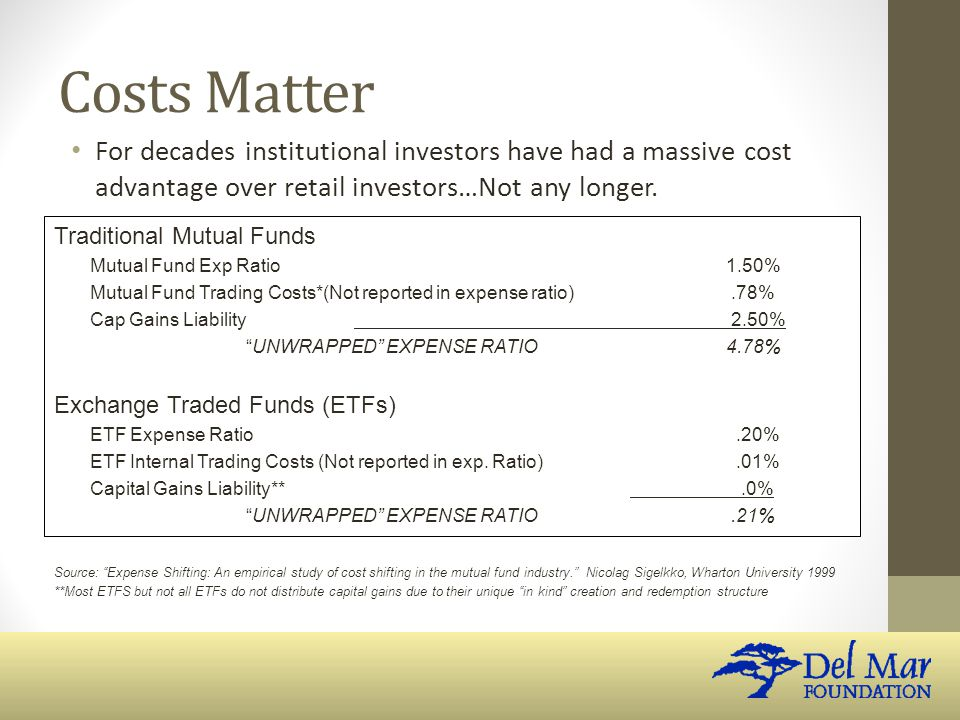 Costs Matter For decades institutional investors have had a massive cost advantage over retail investors…Not any longer.