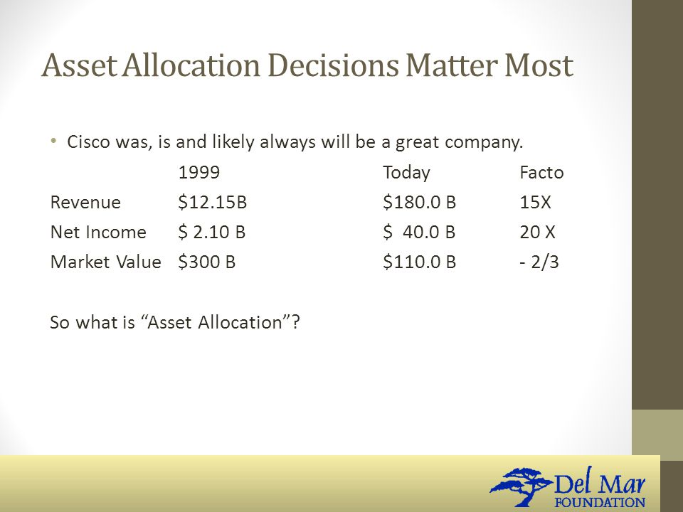 Asset Allocation Decisions Matter Most Cisco was, is and likely always will be a great company.