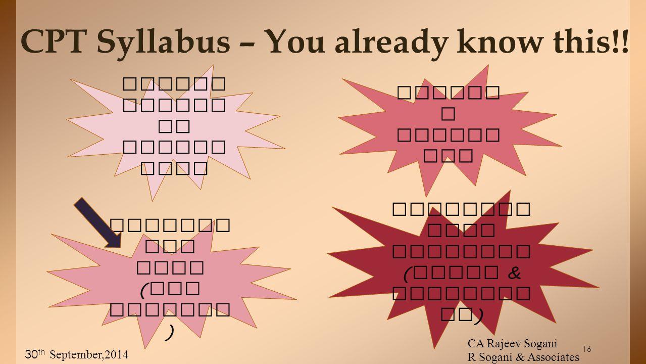16 CPT Syllabus – You already know this!.