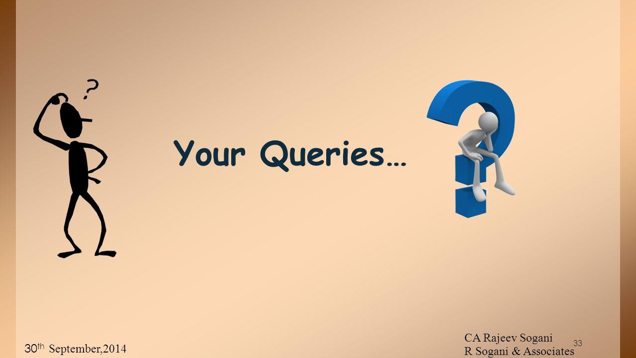 33 Your Queries… CA Rajeev Sogani R Sogani & Associates 30 th September,2014