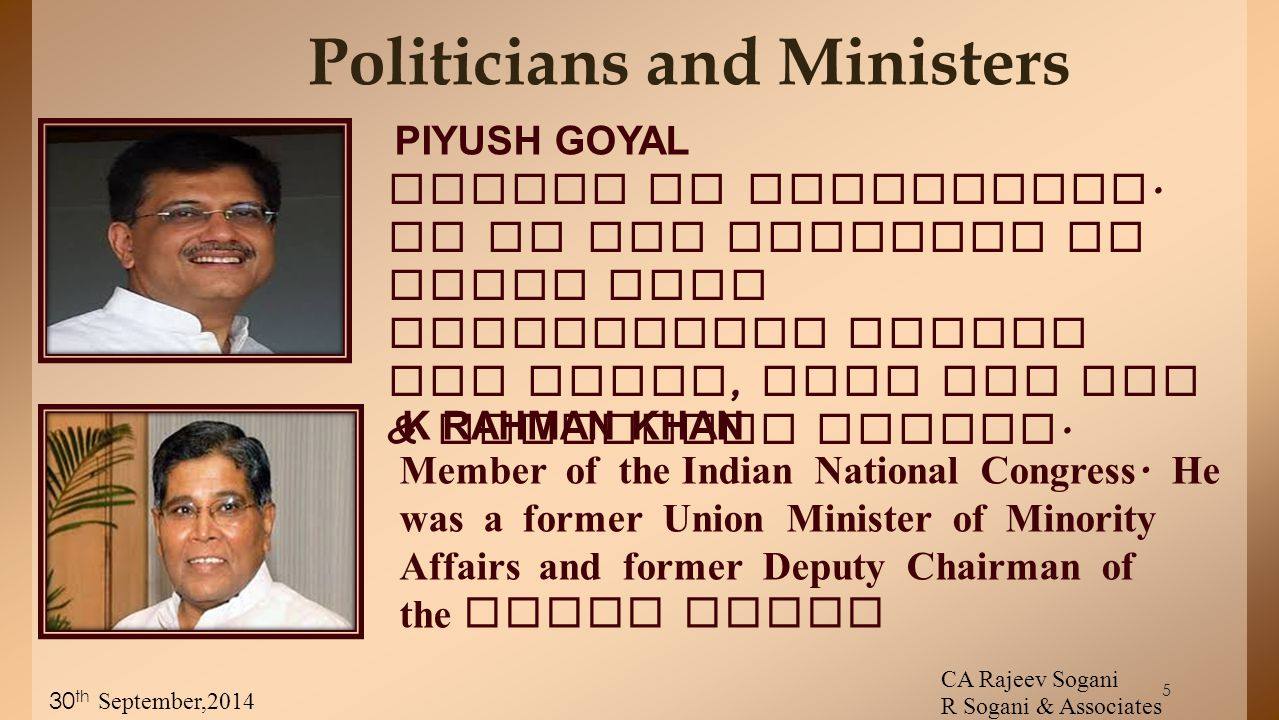 5 Politicians and Ministers Member of Parliament.