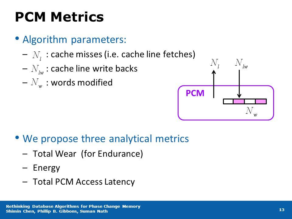 PCM Metrics Algorithm parameters: – : cache misses (i.e. cache line fetches) – : cache line write backs – : words modified We propose three analytical