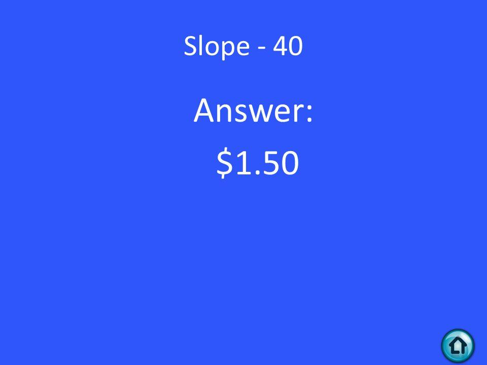 Slope - 40 Answer: $1.50