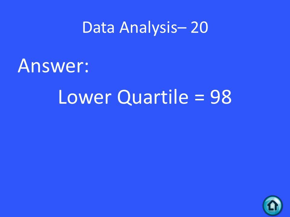 Data Analysis– 20 Answer: Lower Quartile = 98