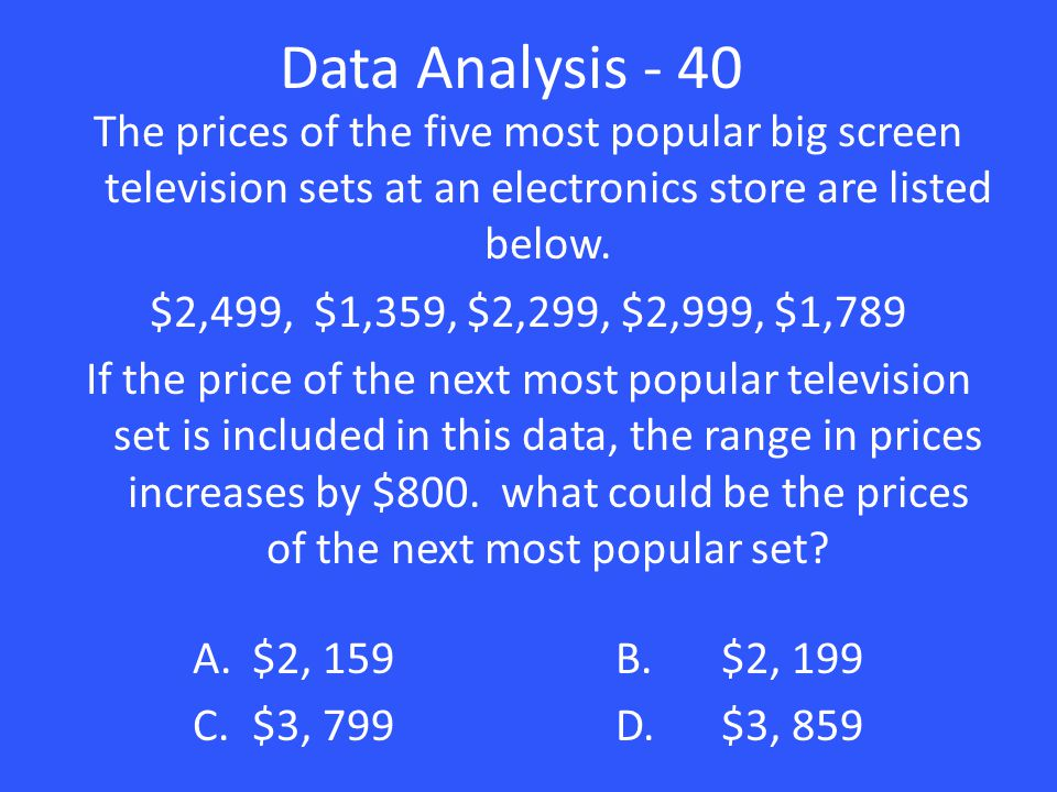 Data Analysis - 40 The prices of the five most popular big screen television sets at an electronics store are listed below. $2,499, $1,359, $2,299, $2