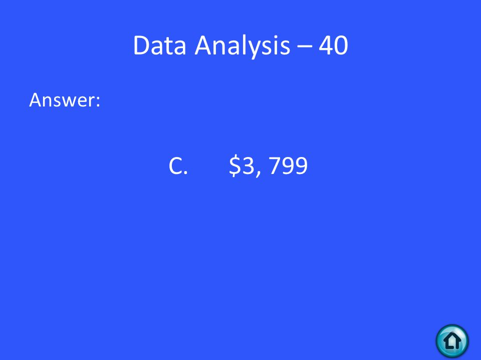 Data Analysis – 40 Answer: C. $3, 799