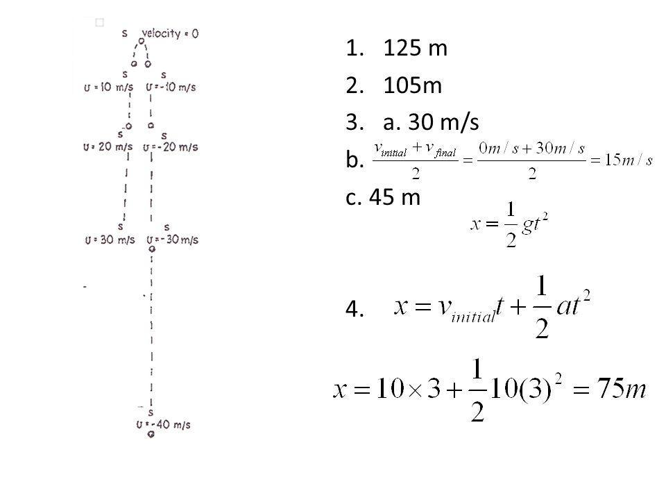1.125 m 2.105m 3.a. 30 m/s b. c. 45 m 4.