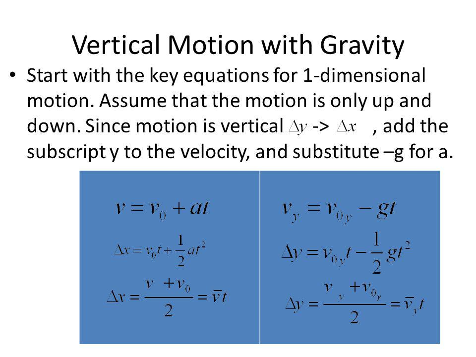 Vertical Motion with Gravity Start with the key equations for 1-dimensional motion. Assume that the motion is only up and down. Since motion is vertic