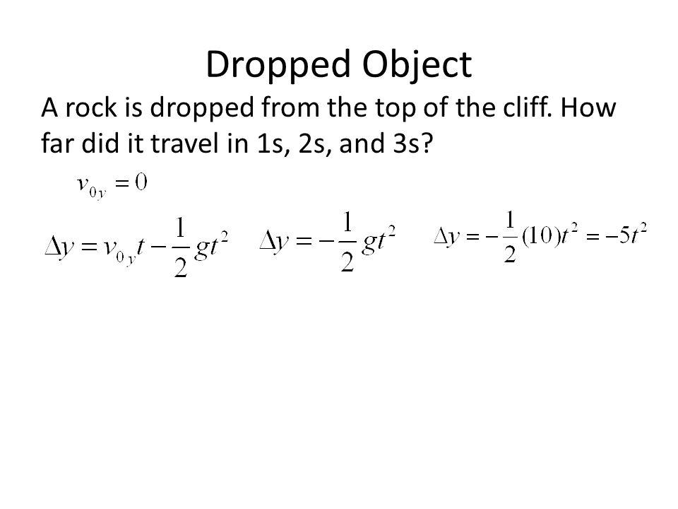 Dropped Object A rock is dropped from the top of the cliff. How far did it travel in 1s, 2s, and 3s?