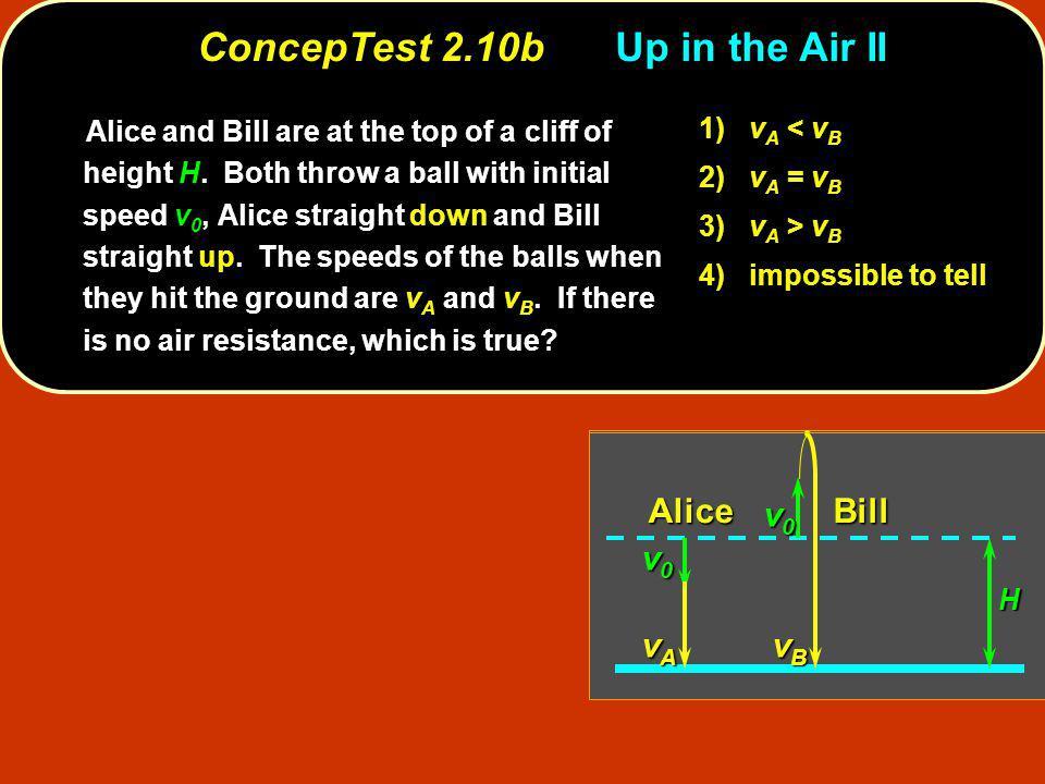 v0v0v0v0 v0v0v0v0 BillAlice H vAvAvAvA vBvBvBvB Alice and Bill are at the top of a cliff of height H. Both throw a ball with initial speed v 0, Alice