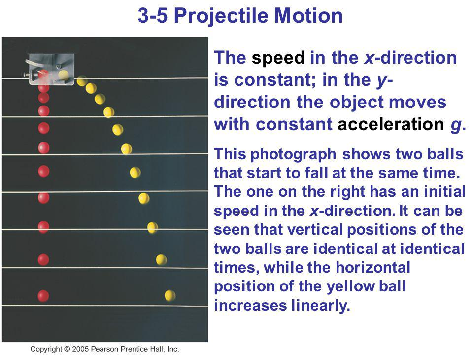 3-5 Projectile Motion The speed in the x-direction is constant; in the y- direction the object moves with constant acceleration g. This photograph sho