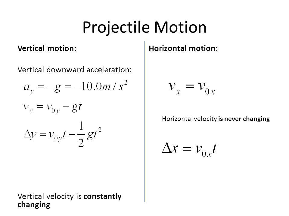 Projectile Motion Vertical motion: Vertical downward acceleration: Vertical velocity is constantly changing Horizontal motion: Horizontal velocity is