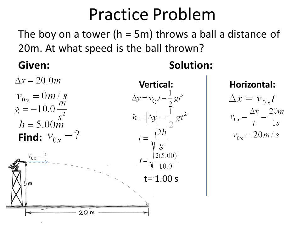 Practice Problem The boy on a tower (h = 5m) throws a ball a distance of 20m. At what speed is the ball thrown? Given:Solution: Vertical:Horizontal: F