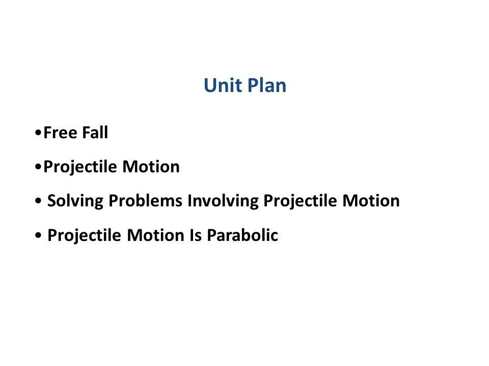 Unit Plan Free Fall Projectile Motion Solving Problems Involving Projectile Motion Projectile Motion Is Parabolic