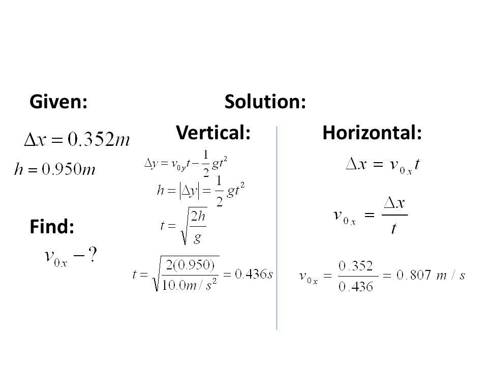 Given:Solution: Vertical:Horizontal: Find: