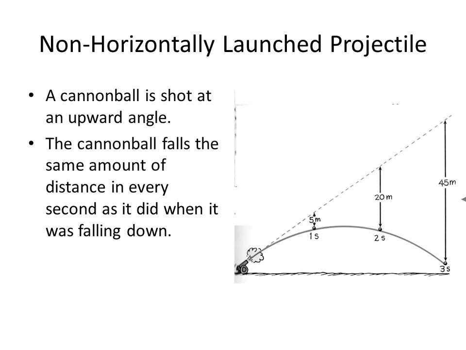 Non-Horizontally Launched Projectile A cannonball is shot at an upward angle. The cannonball falls the same amount of distance in every second as it d