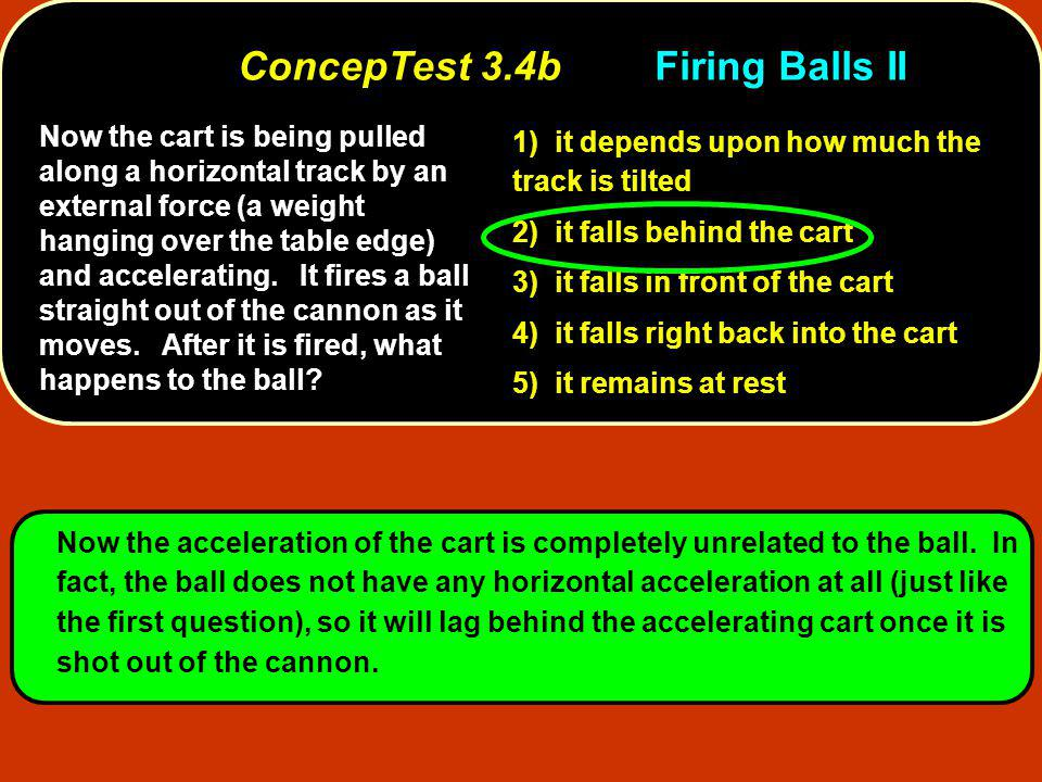 Now the cart is being pulled along a horizontal track by an external force (a weight hanging over the table edge) and accelerating. It fires a ball st