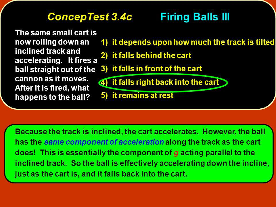 The same small cart is now rolling down an inclined track and accelerating. It fires a ball straight out of the cannon as it moves. After it is fired,