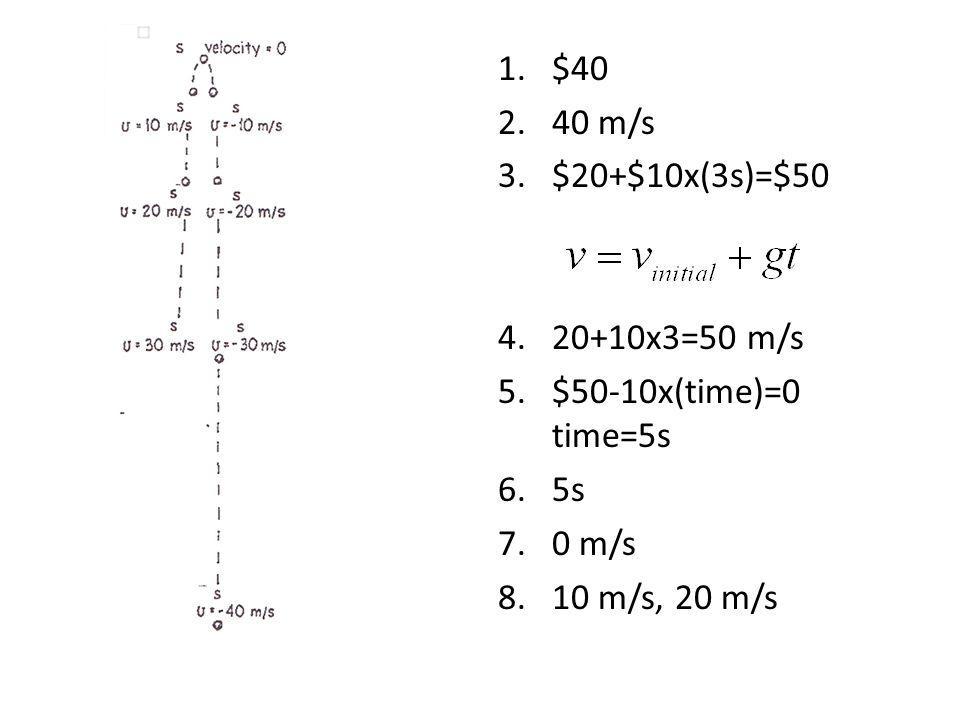 1.$40 2.40 m/s 3.$20+$10x(3s)=$50 4.20+10x3=50 m/s 5.$50-10x(time)=0 time=5s 6.5s 7.0 m/s 8.10 m/s, 20 m/s