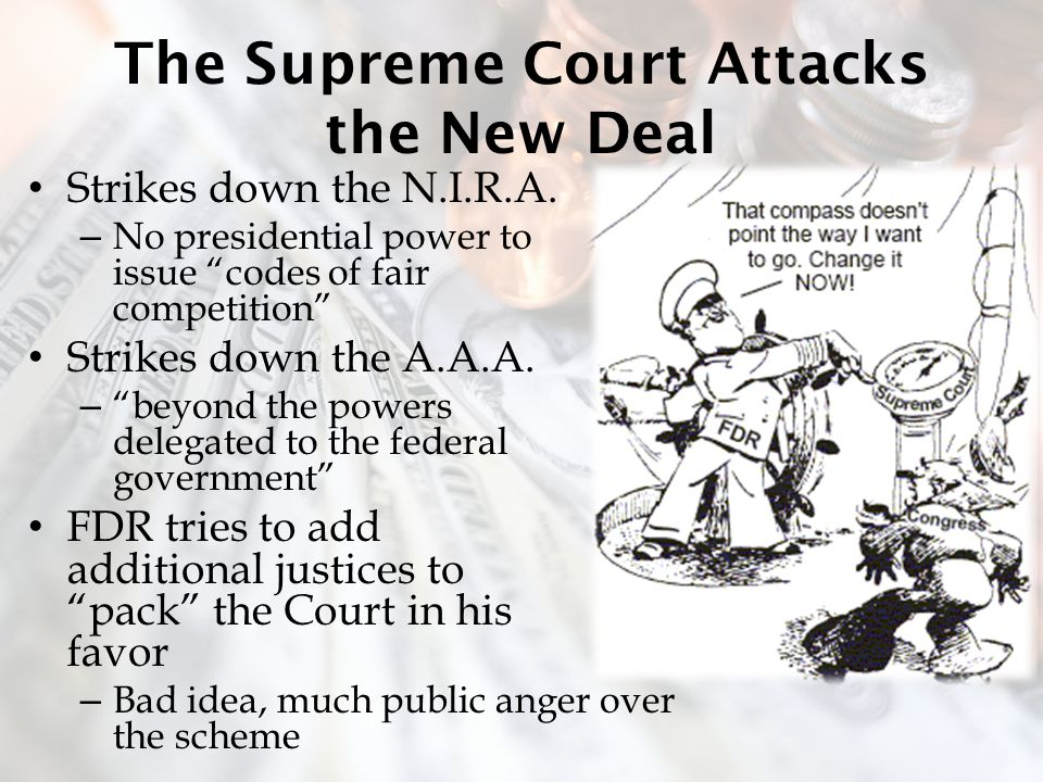 The Supreme Court Attacks the New Deal Strikes down the N.I.R.A.
