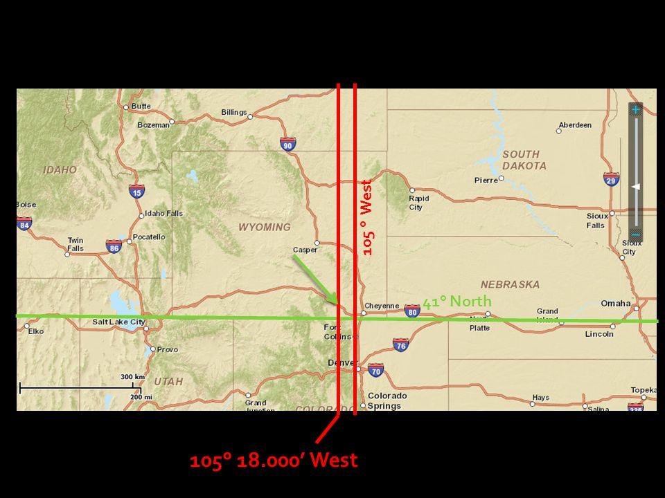 105 ° West 41° North 105° 18.000' West