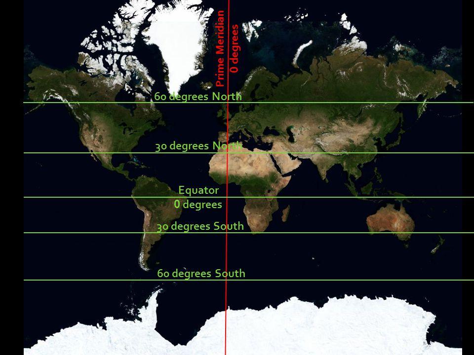 50 degrees West Prime Meridian 0 degrees 50 degrees East 60 degrees North 30 degrees North Equator 0 degrees 30 degrees South 60 degrees South