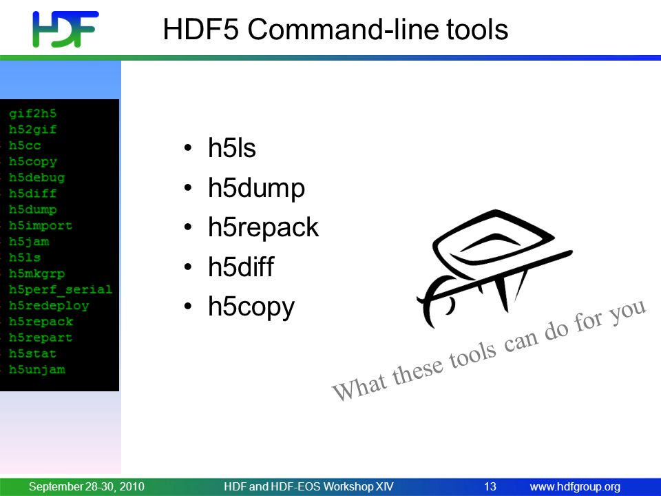 www.hdfgroup.org HDF5 Command-line tools h5ls h5dump h5repack h5diff h5copy September 28-30, 2010HDF and HDF-EOS Workshop XIV13 What these tools can d