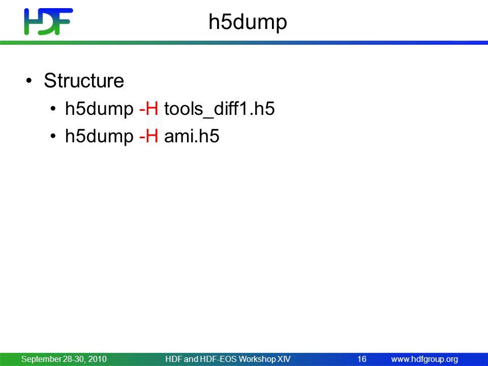 www.hdfgroup.org h5dump Structure h5dump -H tools_diff1.h5 h5dump -H ami.h5 September 28-30, 2010HDF and HDF-EOS Workshop XIV16