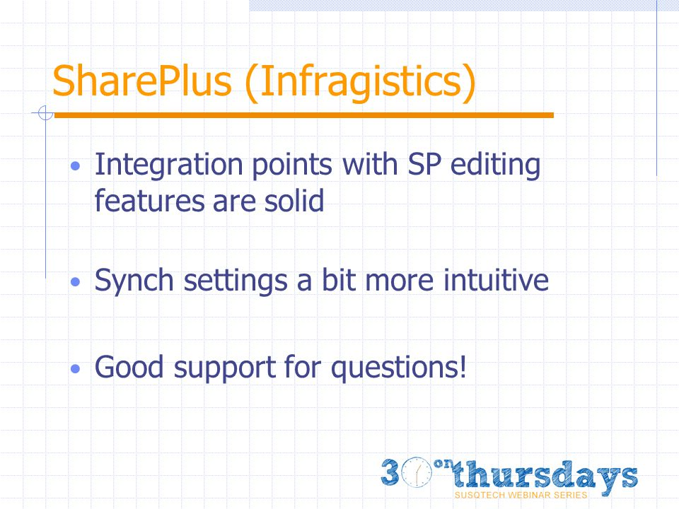 SharePlus (Infragistics) Integration points with SP editing features are solid Synch settings a bit more intuitive Good support for questions!