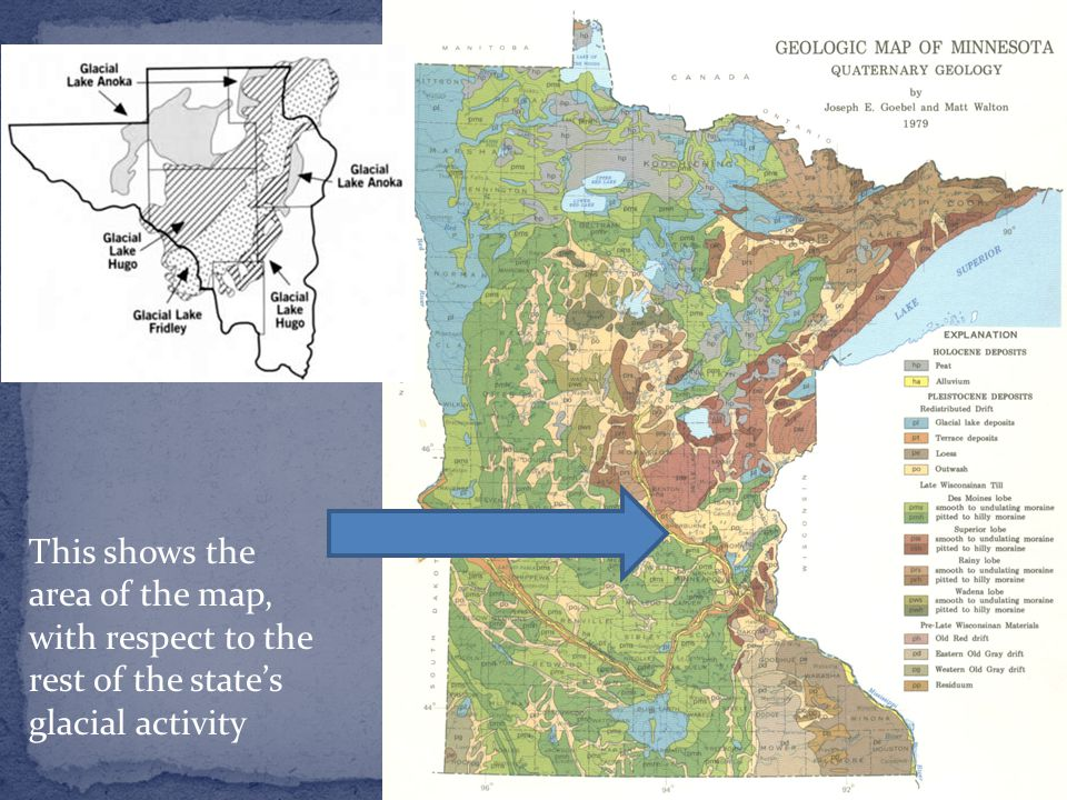 This shows the area of the map, with respect to the rest of the state's glacial activity