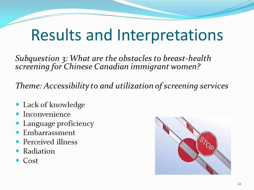 Results and Interpretations Subquestion 3: What are the obstacles to breast-health screening for Chinese Canadian immigrant women.