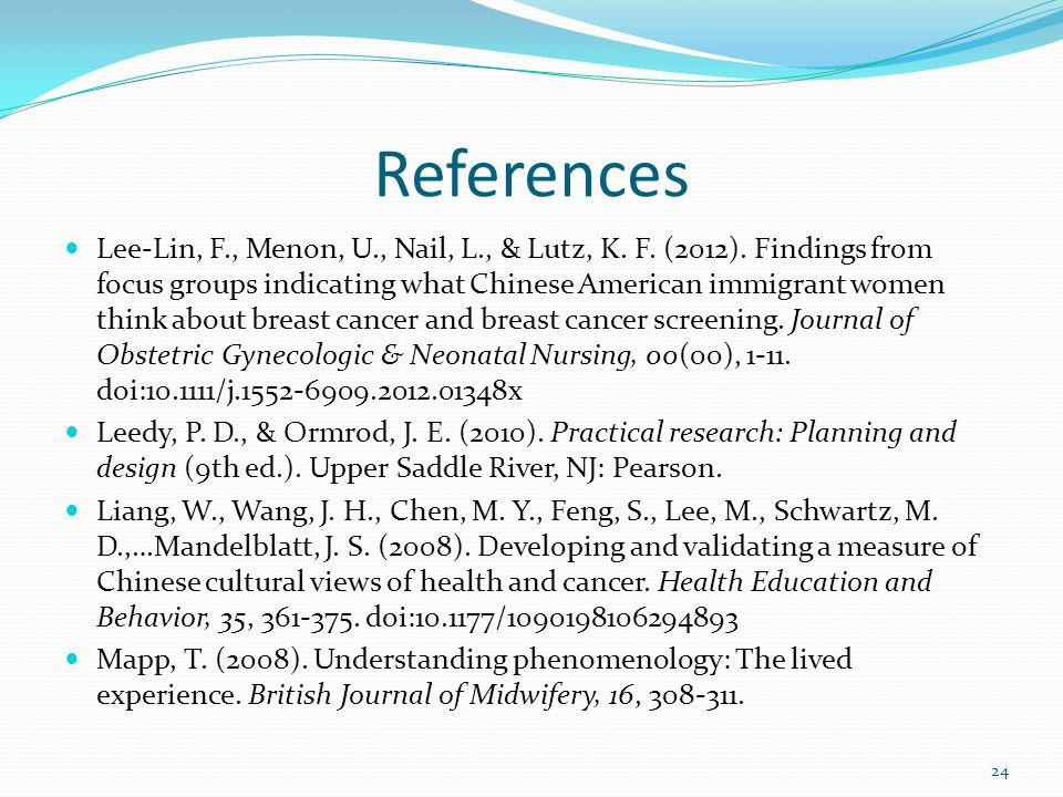 References Lee-Lin, F., Menon, U., Nail, L., & Lutz, K.