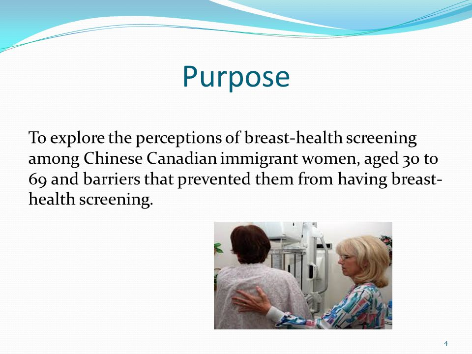 Purpose To explore the perceptions of breast-health screening among Chinese Canadian immigrant women, aged 30 to 69 and barriers that prevented them from having breast- health screening.