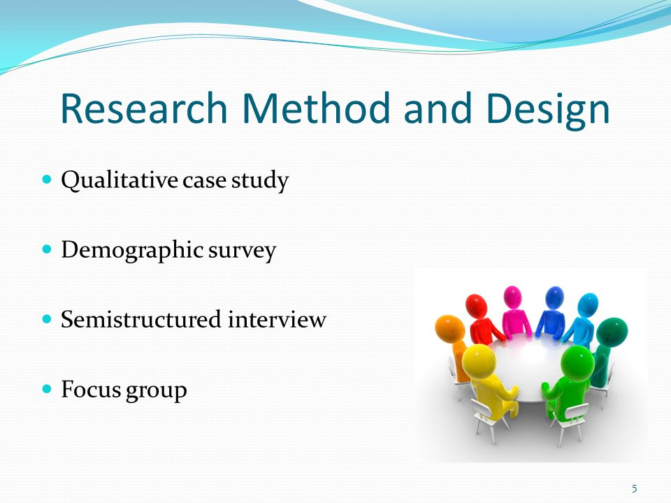 Research Method and Design Qualitative case study Demographic survey Semistructured interview Focus group 5